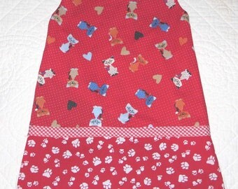girl's dress reversible pattern cats