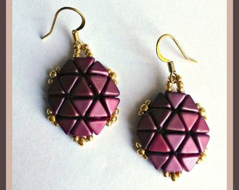 Cod 01901 Earrings tortoise shell coloring plum and Gold