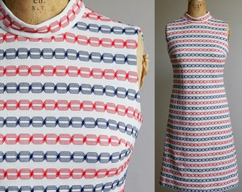 1970s Red White and Blue Americana Sleeveless Dress