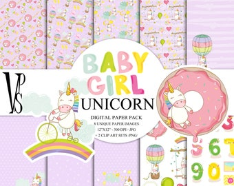 Rainbow Unicorn Digital Paper Pack  Instant Download Printable Hot Air Balloon Baby Girl Nursery Baby Shower Purple Enchanted ClipArt 12x12