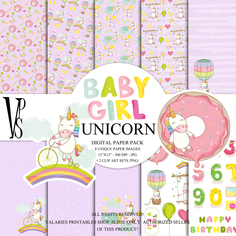 Rainbow Unicorn Digital Paper Pack Instant Download Printable Hot
