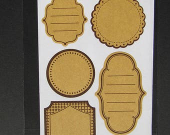 12 labels kraft adhesive with liserai Black - 2 sheets of 6.