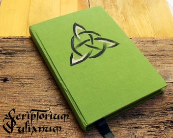 Triquetra journal, green journal, knotwork, book of shadows, Charmed inspired, pagan gift, Celtic gift, Wicca, Ostra gift, Easter gift