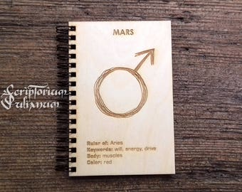 Mars journal, Aries gift, gift for him, gift for her, Aries man, Mars notebook, zodiac journal, alchemy journal, planet journal, astrology