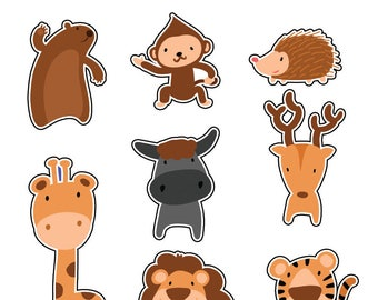 Zoo friends sticker Pack. Made in USA,Lion,Birthday,Monkey,Gift,Sticker,Bull,Decal