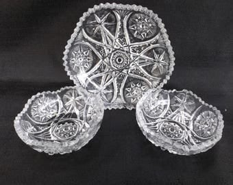 EAPG McKee Glass YUTEC (OMN) mini Bundle 3 pieces! Ca.1909