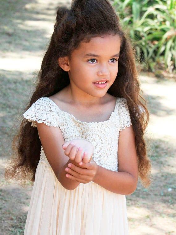 Mia Dress- Flower Girl Dress, Country Flower Girl Dress, Beige/Cream lace dress, Bohemian Boho Romantic,Easter dress, Ivory Girl Girls Dress