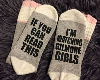 Gilmore Girls Socks, I'm watching gilmore girls, Wine socks, Custom socks, If you can read this socks, funny socks, women's socks, bring me