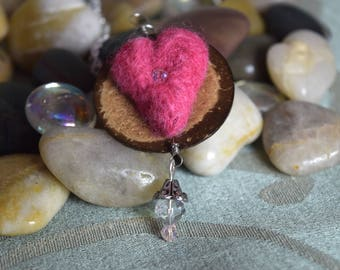 Felted Heart and Button Necklace