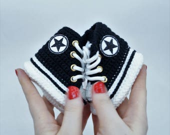 Black Baby Shoes Converse, Crochet Baby Converse, Baby  Shower Gift, Baby Converse Slippers, Baby Sneakers, Hi Top Converse, Baby Booties