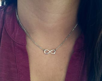Infinity Necklace-Silver Infinity Necklace-Stainless Steel Chain-Silver Plated Infinity Charm-Women's Necklace-Everlasting Love Necklace