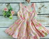 Vintage neckline pastel pink flora ruffle twirl dress