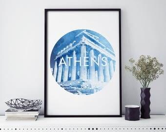 Parthenon, Athens , Greece Watercolour Print Wall Art | 4x6 5x7 A4 A3 A2