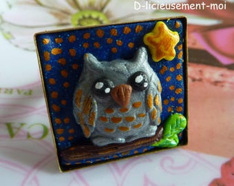 Square 2.5 * 2.5 cm bronze OWL Adjustable ring polymer clay OWL