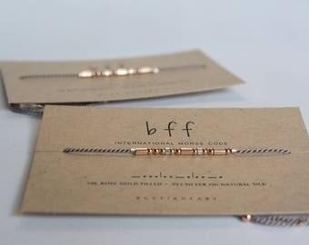 Best Friend Bracelet Set / Best Friend Gift / 2 Matching BFF Rose Gold Morse Code Bracelets / BFF Gift Friendship Bracelets / 3 Best Friends