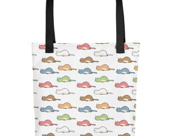 Tired Cat Multi Color Tote bag - Grocery Bag Totes