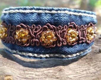 Denim Cuff Bracelet with Beaded Flowers