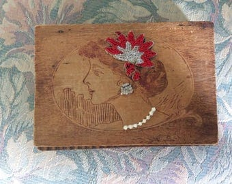 SALE! Vintage Flapper Pyrography Wood Box, 1920's, Upcycled