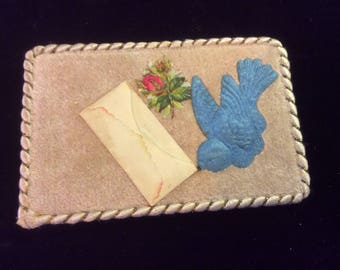 Antique Victorian Card, Velvet, Embossing, Embroidery on Embossed Floral, Silk Trim and Real Mini Envelope