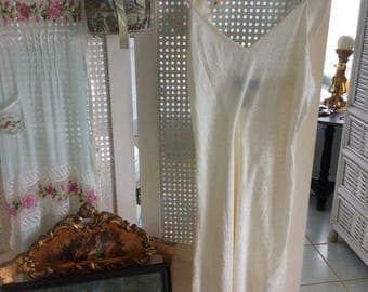 Lovely Silk Nightgown, Textured Silk Cream Color, Wide Beautifully Tailored Straps, Sz. M, Mint!