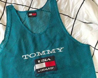 Vintage Tommy Jeans Mesh Teal Top/Jersey Tank