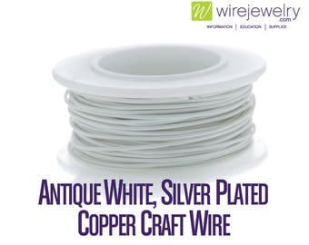 Antique White, Silver Plated Copper Craft Wire, Round, Various Gauges and Lengths
