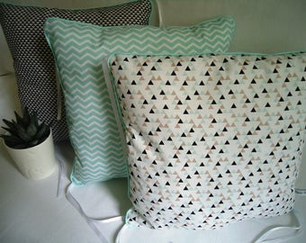 Bumper pads for bed baby, aqua, taupe and black, green piping of water