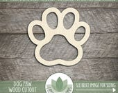 Paw Print Laser Cut Wood Shape, Dog Paw Wooden Cut Out, Wood Dog Print, DIY Crafting Supply, Many Shapes And Size Options