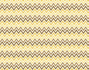 "Riley Blake   My Minds Eye   ""Indie Chic""  Yellow Zig-Zag  Cotton Fabric"