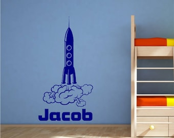 Personalised Space Rocket Wall Art Decal