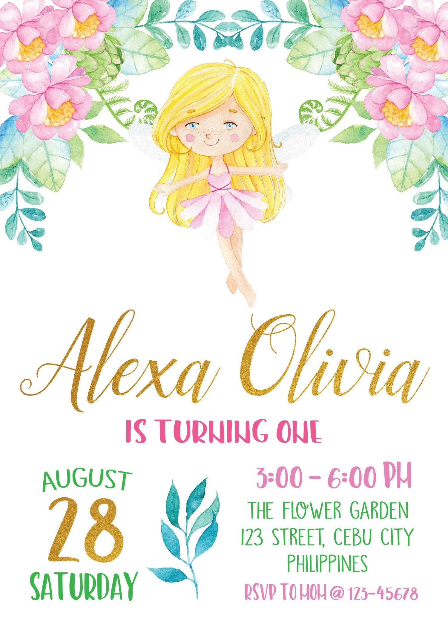 Fairy Birthday Invitation, Enchanted Garden Invitation, Floral ...