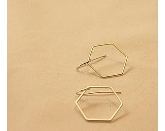 Earrings Matte Silver hexagon or square