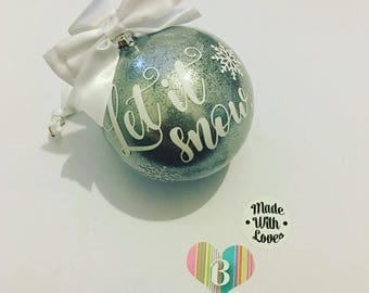 large let it snow bauble white and silver bauble snowflakes 10cm bauble