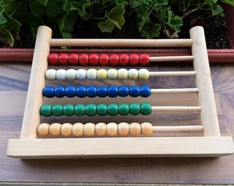 Vintage abacus Wooden abacus Small abacus Primitive calculator Old calculator Primitive math Counting device Children abacus