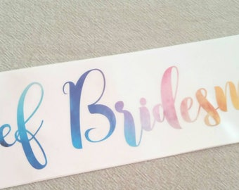 Chief Bridesmaid watercolour look sash