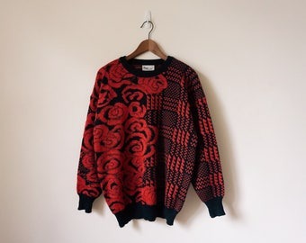 80s red and black patterned festive sweater