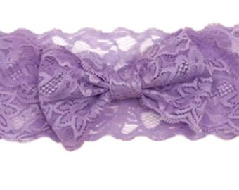 Wide lace with Lavender bow headband