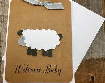 Welcome Baby Card, Sheep Baby Card, Gender Nietral Baby Card, Baby Card, Sheep Card, Farm Animal Baby Card