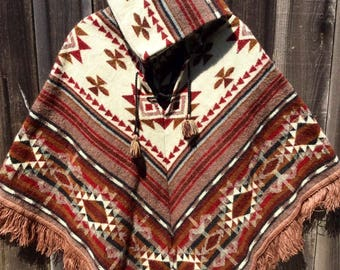 Alpaca womens hooded poncho