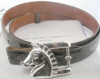 Barry Kieselstein Cord Sterling Silver Horse Belt Buckle With Belt