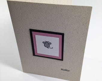 Handmade Note Card- Hello Mouse image