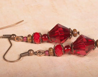 Red and bronze coloured beaded earrings