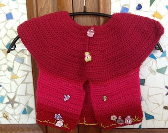"crocheted vest says ""fairies"" pure wool"