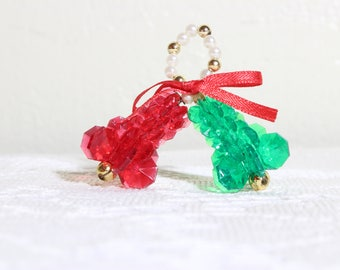 Vintage Christmas Mini Bells Plastic Beads Ornaments ( 14 Pcs )