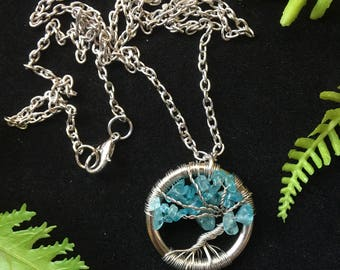 Blue Apatite Tree of Life Necklace