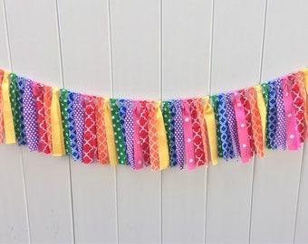 Rainbow fabric banner, scrappy banner, fabric banner, highchair banner, photo prop, rainbow party, rainbow birthday, fabric garland, rainbow