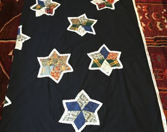 Star  Patchwork Applique Blanket / Throw , Hand-made, Large ,Lace Trim.