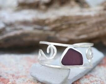 sterling silver grape sea glass cuff bracelet