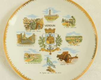 Vintage Verdun France Vacation Plate, Prestige, Made in France, Military, Historic Site, World War I, Trench, Fort Vaux, No Man's Land