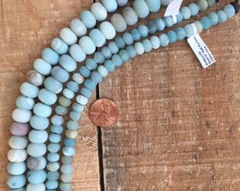 Matte large hole Amazonite rondelle beads, 8 inch strand, 8 x 12mm or 5 x 8mm